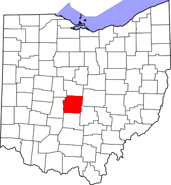 Map of Ohio highlighting Franklin County