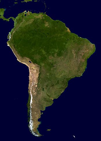English: South America. An orthographic projec...